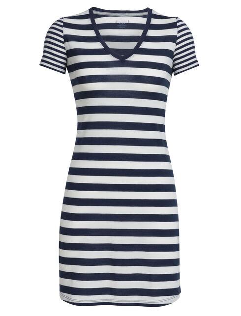 Tech Lite Short Sleeve V Dress Stripe