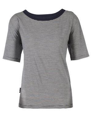 Luxe Lite短袖圆领条纹上衣(带口袋)