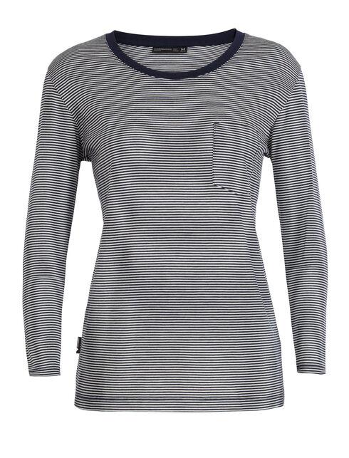 Luxe Lite长袖圆领条纹上衣(带口袋)