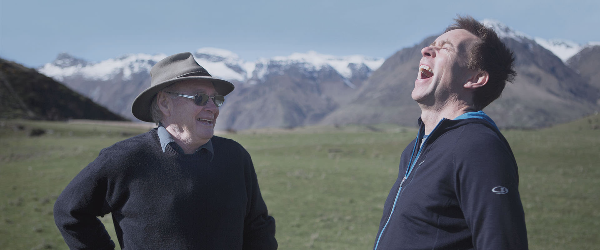 Jeremy Moon, icebreaker founder, and merino sheep grower having a laugh on a station